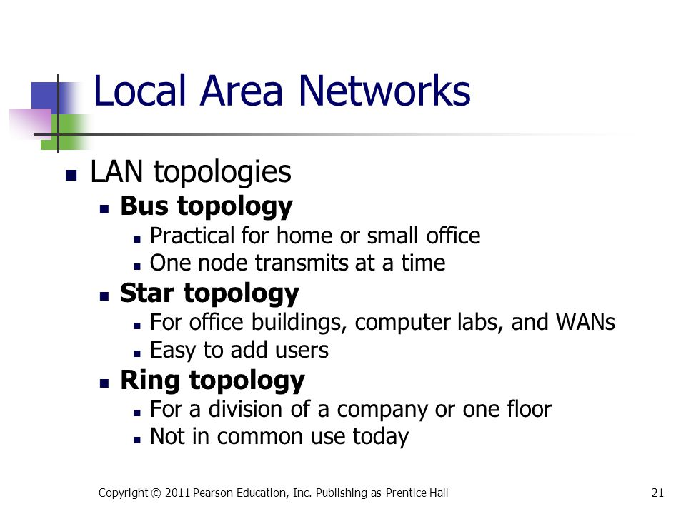 LAN topologies Bus topology Practical for home or small office One node transmits at a time Star topology For office buildings, computer labs, and WANs Easy to add users Ring topology For a division of a company or one floor Not in common use today Copyright © 2011 Pearson Education, Inc.