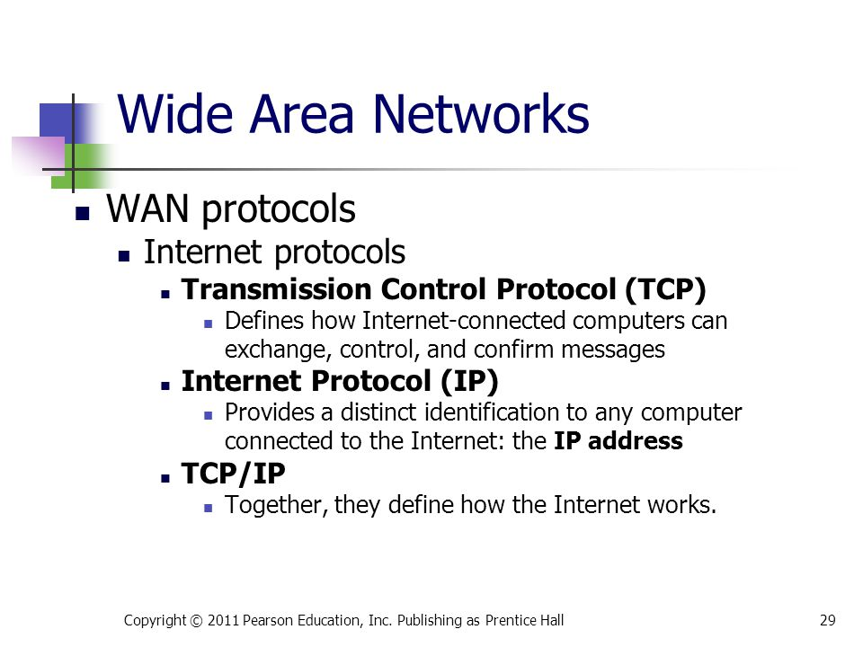 Wide Area Networks WAN protocols Internet protocols Transmission Control Protocol (TCP) Defines how Internet-connected computers can exchange, control, and confirm messages Internet Protocol (IP) Provides a distinct identification to any computer connected to the Internet: the IP address TCP/IP Together, they define how the Internet works.