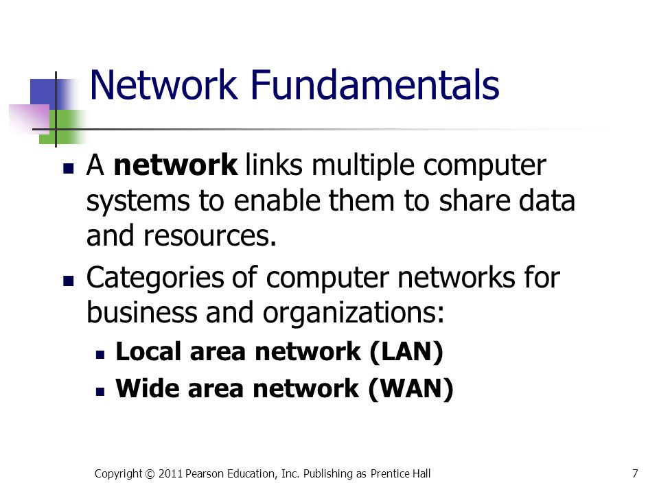 Network Fundamentals A network links multiple computer systems to enable them to share data and resources.