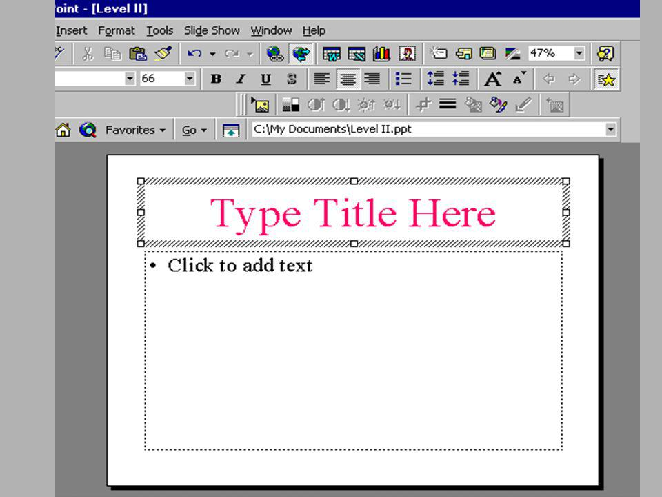 Click your mouse inside one of the boxes Type text for your project When finished, create another New Slide Step Two Enter In Text