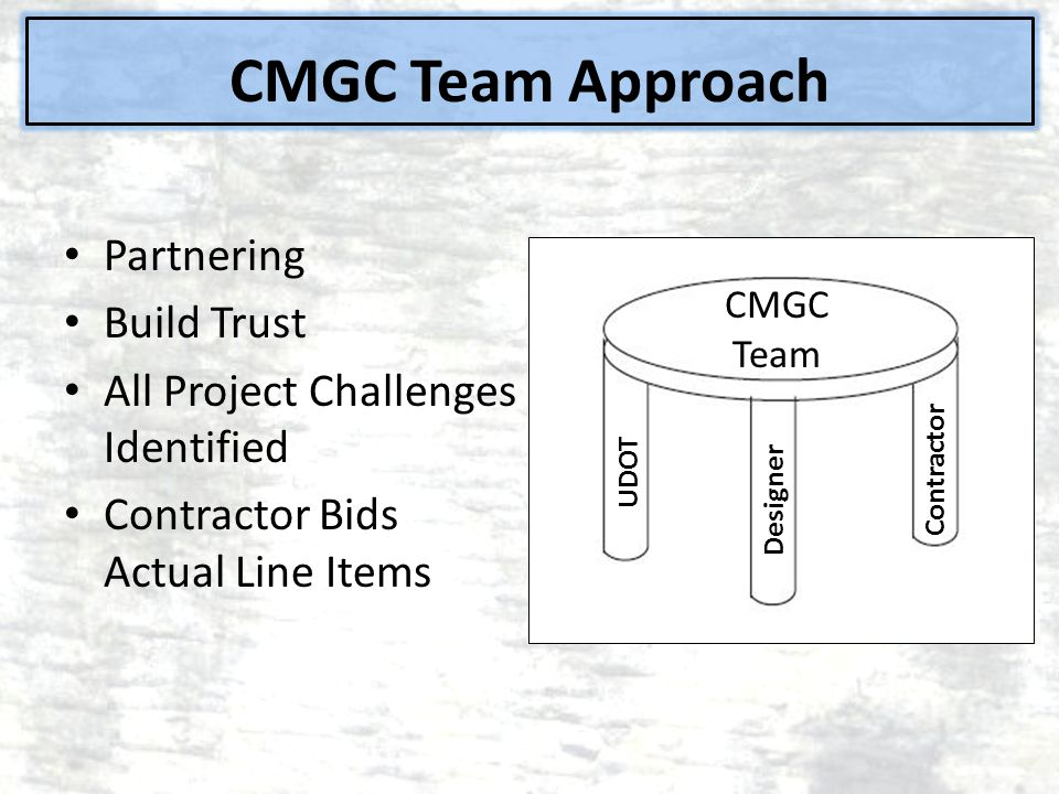CMGC Team Approach Partnering Build Trust All Project Challenges Identified Contractor Bids Actual Line Items CMGC Team UDOT Designer Contractor