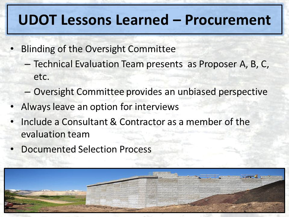 Blinding of the Oversight Committee – Technical Evaluation Team presents as Proposer A, B, C, etc.