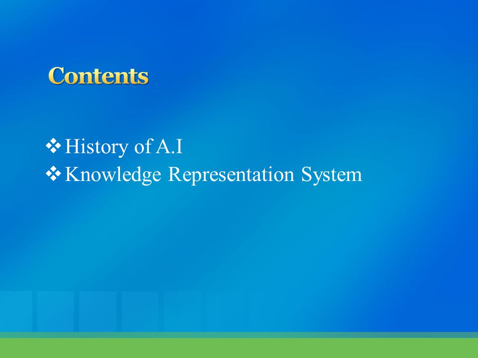  History of A.I  Knowledge Representation System