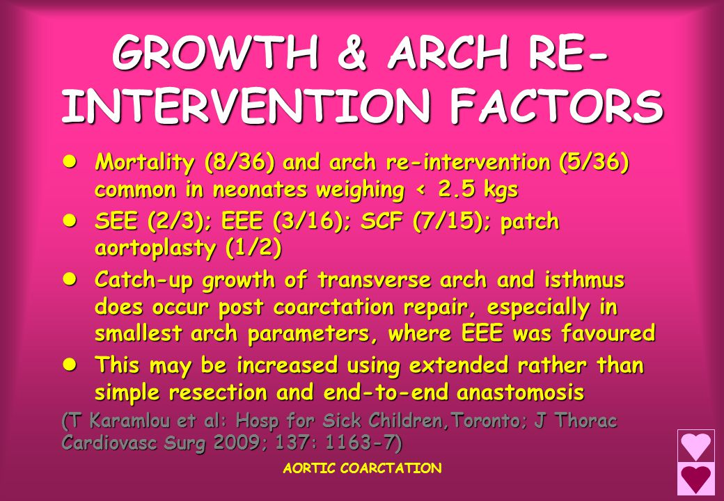 GROWTH & ARCH RE- INTERVENTION FACTORS AORTIC COARCTATION Mortality (8/36) and arch re-intervention (5/36) common in neonates weighing < 2.5 kgs Morta
