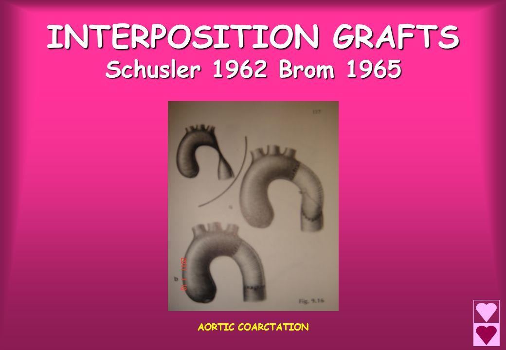 INTERPOSITION GRAFTS Schusler 1962 Brom 1965 AORTIC COARCTATION