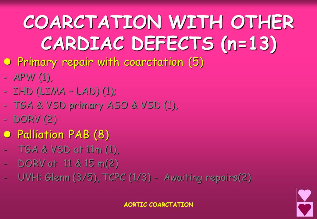 COARCTATION WITH OTHER CARDIAC DEFECTS (n=13) Primary repair with coarctation (5) Primary repair with coarctation (5) - APW (1), - IHD (LIMA – LAD) (1