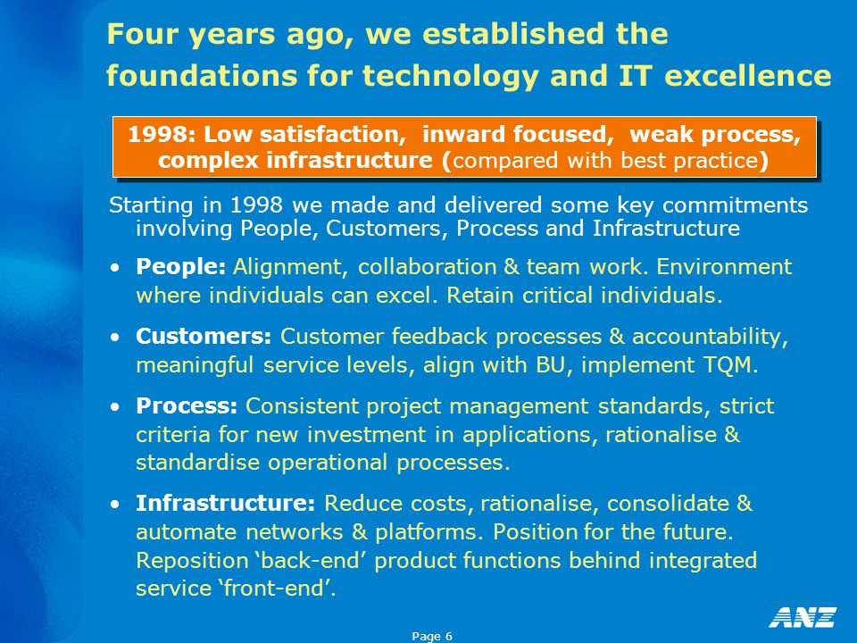 Page 6 Four years ago, we established the foundations for technology and IT excellence Starting in 1998 we made and delivered some key commitments inv