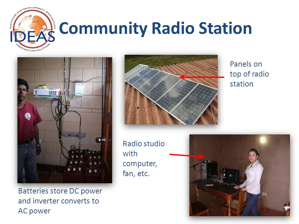 Community Radio Station Batteries store DC power and inverter converts to AC power Panels on top of radio station Radio studio with computer, fan, etc.