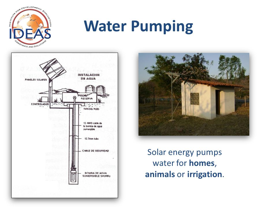 Water Pumping Solar energy pumps water for homes, animals or irrigation.