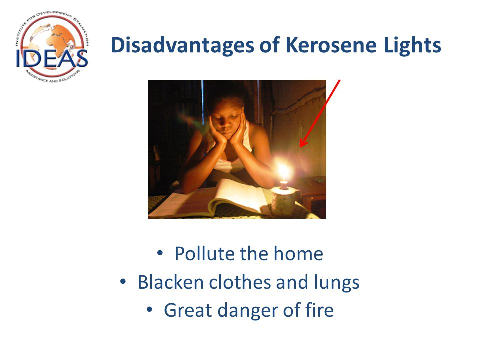 Disadvantages of Kerosene Lights Pollute the home Blacken clothes and lungs Great danger of fire
