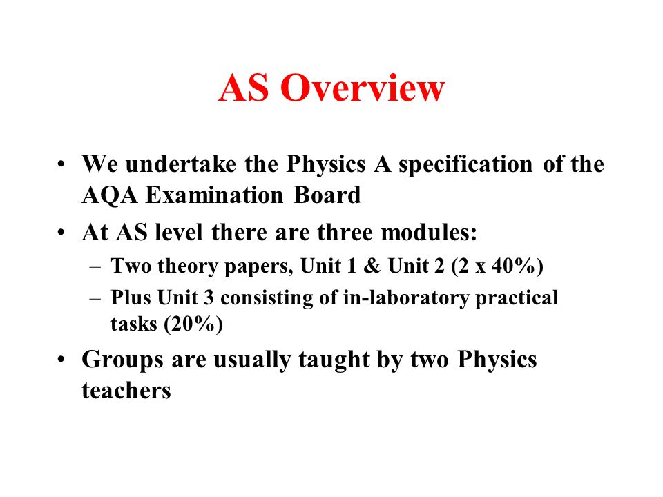 AS Overview We undertake the Physics A specification of the AQA Examination Board At AS level there are three modules: –Two theory papers, Unit 1 & Unit 2 (2 x 40%) –Plus Unit 3 consisting of in-laboratory practical tasks (20%) Groups are usually taught by two Physics teachers