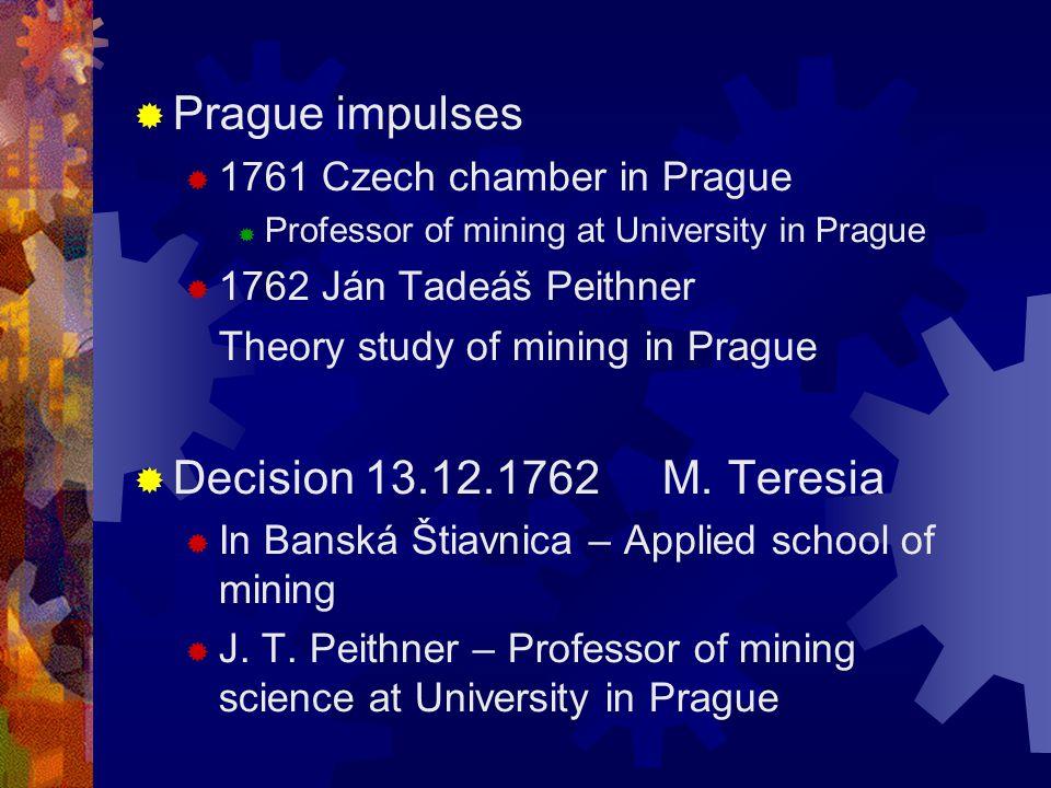 Banská Štiavnica – Academy of mining Chronology I  13.