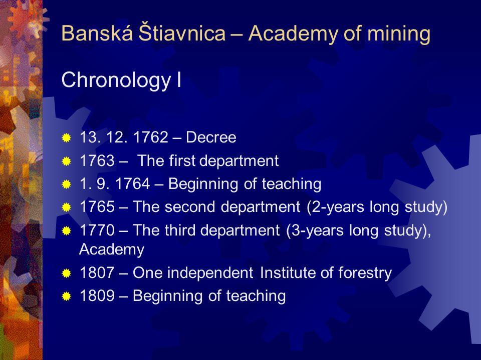 The Czechoslovak Republic I  1919 – Slovakia with no universities of technology  The end of activity – Banská Štiavnica, Košice  Efforts to renew B.