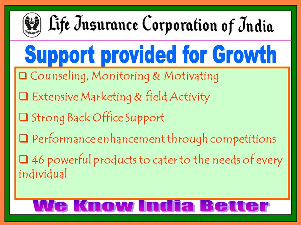  Counseling, Monitoring & Motivating  Extensive Marketing & field Activity  Strong Back Office Support  Performance enhancement through competitions  46 powerful products to cater to the needs of every individual