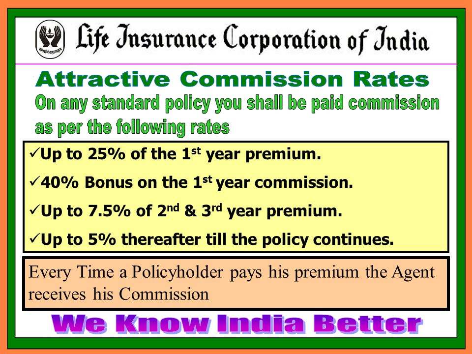 Up to 25% of the 1 st year premium. 40% Bonus on the 1 st year commission.