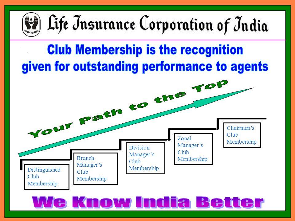 Distinguished Club Membership Branch Manager's Club Membership Division Manager's Club Membership Zonal Manager's Club Membership Chairman's Club Membership