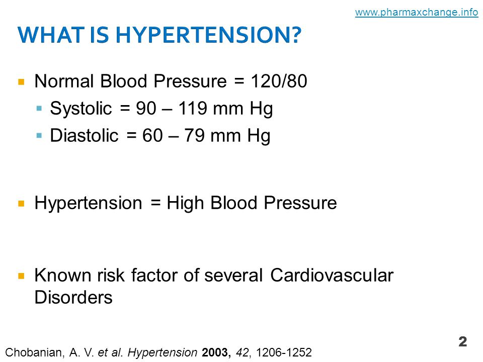  Normal Blood Pressure = 120/80  Systolic = 90 – 119 mm Hg  Diastolic = 60 – 79 mm Hg  Hypertension = High Blood Pressure  Known risk factor of several Cardiovascular Disorders 2 Chobanian, A.