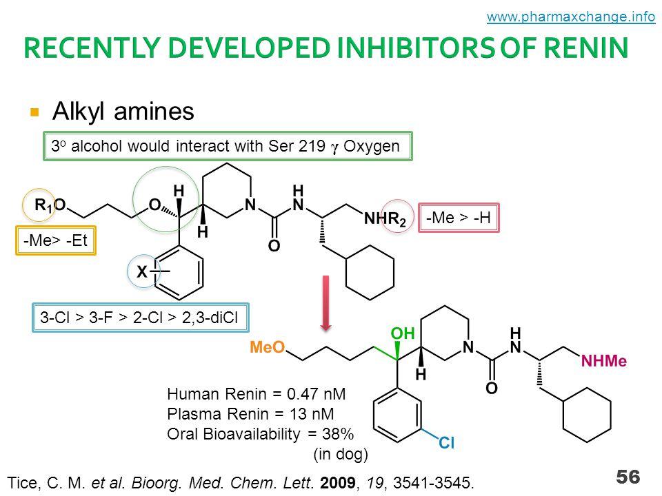  Alkyl amines 56 Human Renin = 0.47 nM Plasma Renin = 13 nM Oral Bioavailability = 38% (in dog) Tice, C.