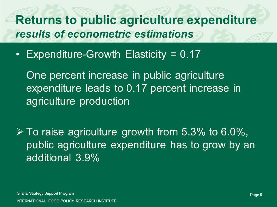 Ghana Strategy Support Program INTERNATIONAL FOOD POLICY RESEARCH INSTITUTE Page 6 Returns to public agriculture expenditure results of econometric estimations Expenditure-Growth Elasticity = 0.17  One percent increase in public agriculture expenditure leads to 0.17 percent increase in agriculture production  To raise agriculture growth from 5.3% to 6.0%, public agriculture expenditure has to grow by an additional 3.9%