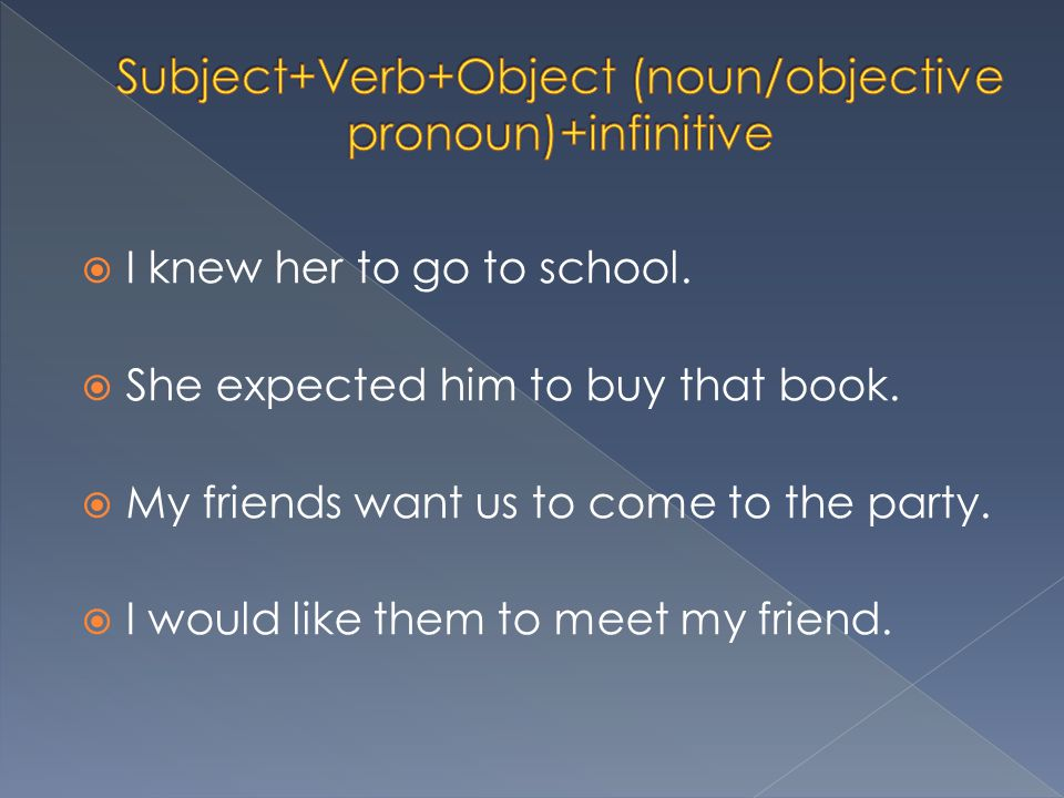  I knew her to go to school.  She expected him to buy that book.