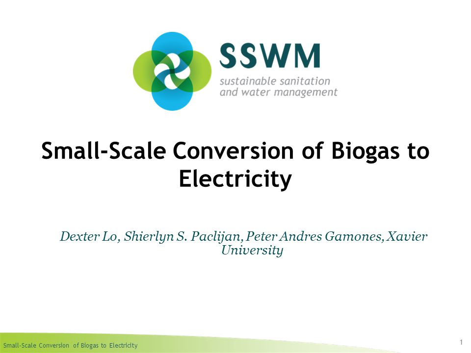 Small-Scale Conversion of Biogas to Electricity Find this presentation and more on: www.sswm.info.www.sswm.info Copy it, adapt it, use it – but acknowledge the source.