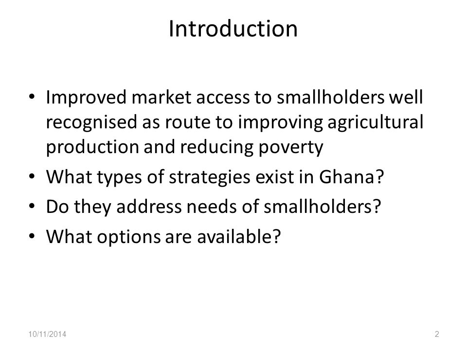 What does Improved Access to Markets Mean for Smallholders.