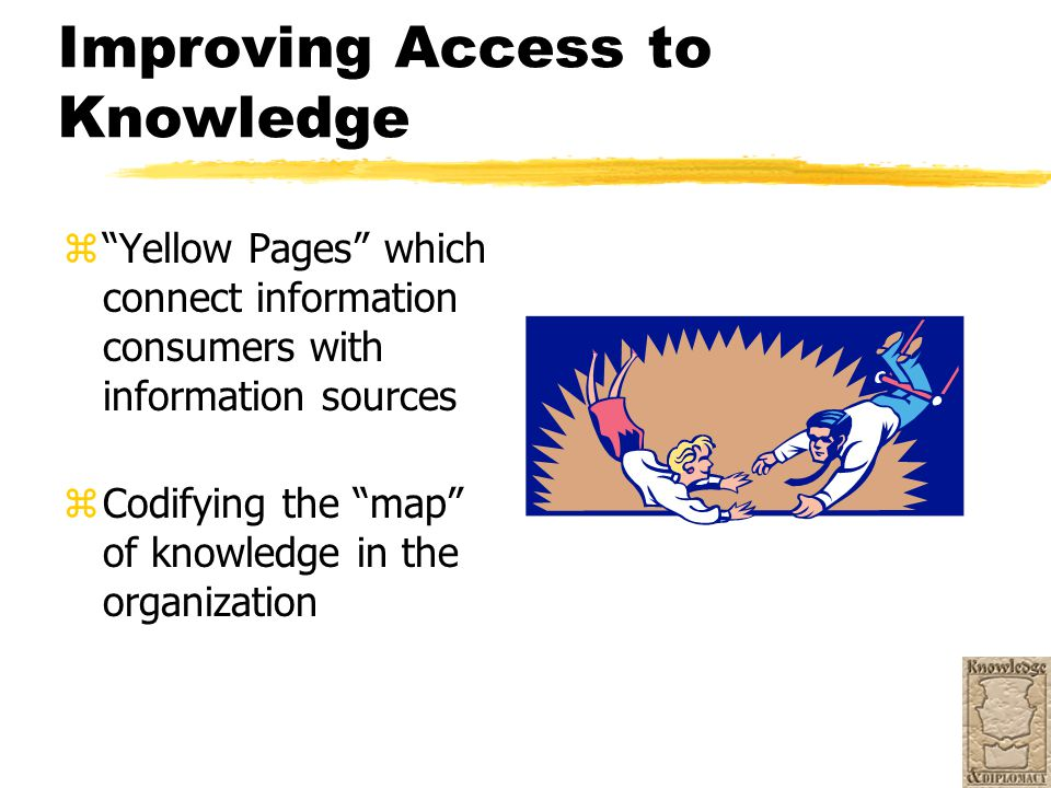 "Improving Access to Knowledge z""Yellow Pages"" which connect information consumers with information sources zCodifying the ""map"" of knowledge in the or"