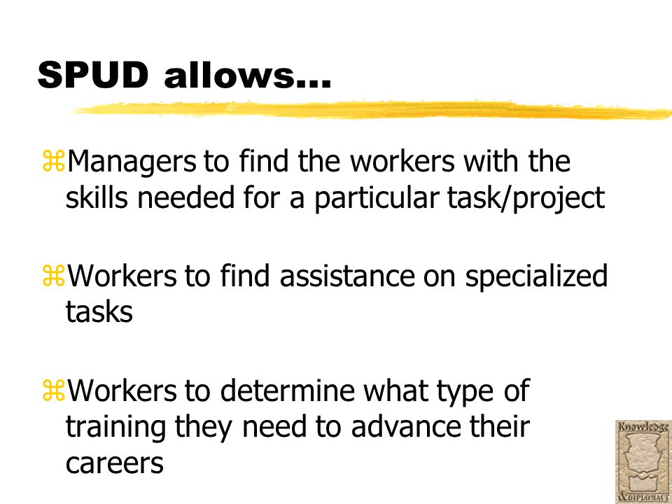 SPUD allows... zManagers to find the workers with the skills needed for a particular task/project zWorkers to find assistance on specialized tasks zWo