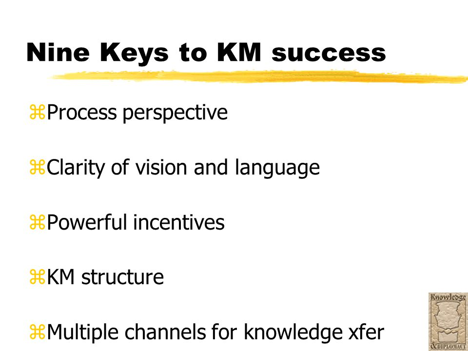 Nine Keys to KM success zProcess perspective zClarity of vision and language zPowerful incentives zKM structure zMultiple channels for knowledge xfer