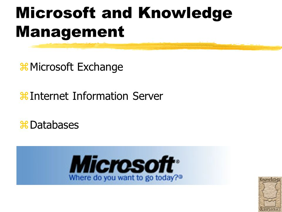 Microsoft and Knowledge Management z Microsoft Exchange z Internet Information Server z Databases