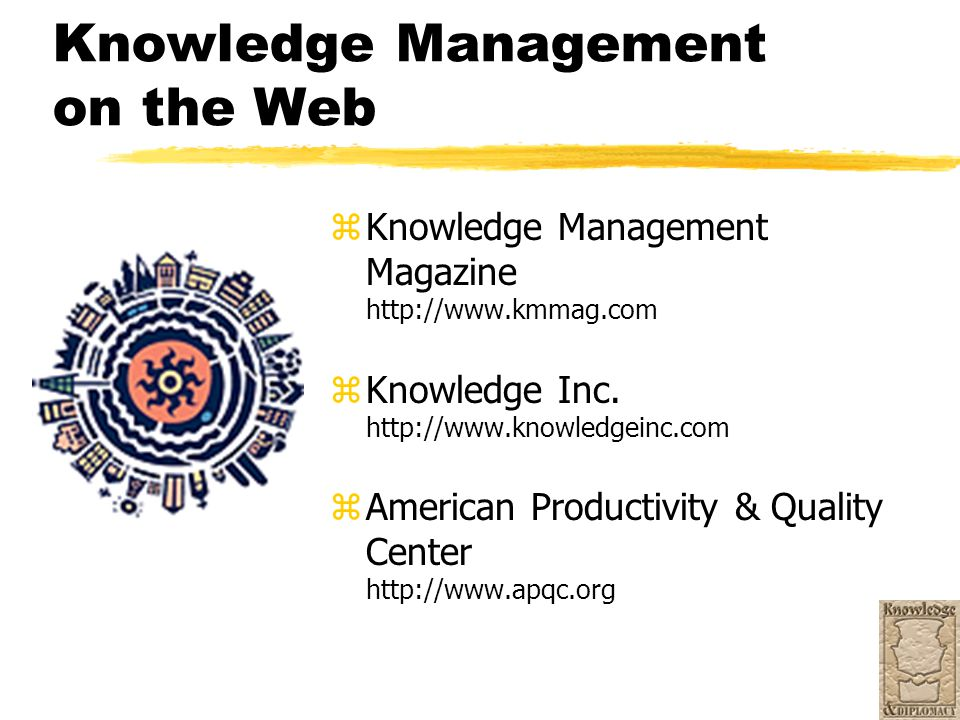 Knowledge Management on the Web z Knowledge Management Magazine http://www.kmmag.com z Knowledge Inc. http://www.knowledgeinc.com z American Productiv
