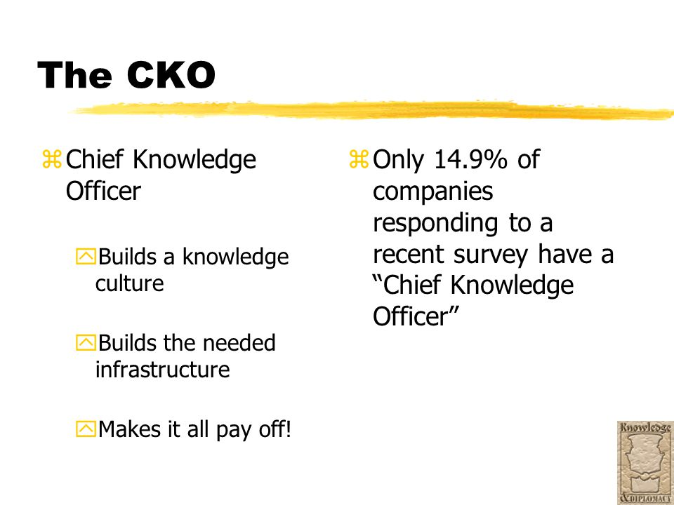 The CKO zChief Knowledge Officer yBuilds a knowledge culture yBuilds the needed infrastructure yMakes it all pay off! z Only 14.9% of companies respon