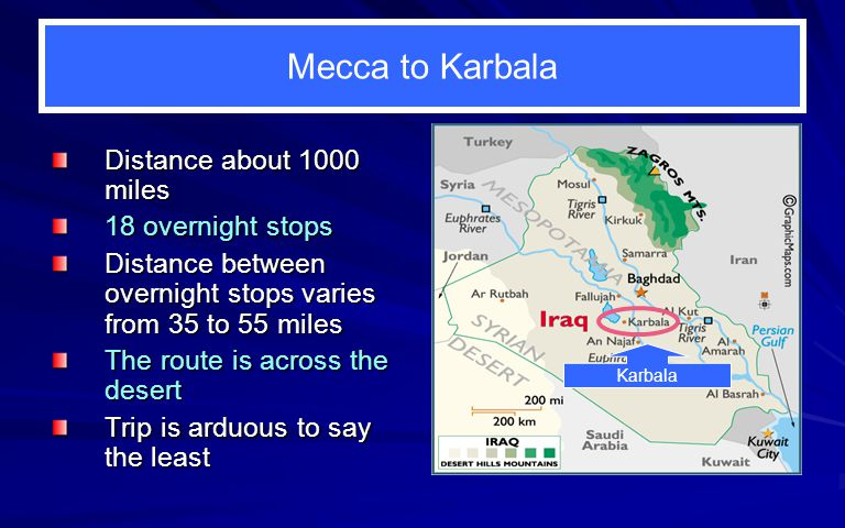 Mecca to Karbala Distance about 1000 miles 18 overnight stops Distance between overnight stops varies from 35 to 55 miles The route is across the desert Trip is arduous to say the least Karbala