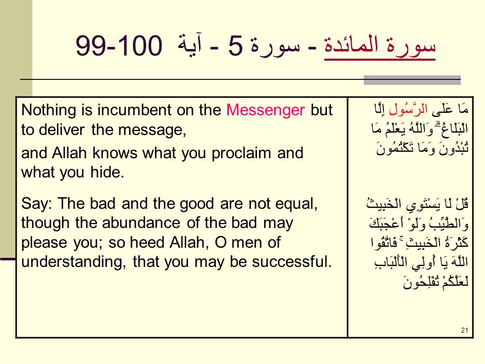 21 سورة المائدةسورة المائدة - سورة 5 - آية 99-100 Nothing is incumbent on the Messenger but to deliver the message, and Allah knows what you proclaim and what you hide.