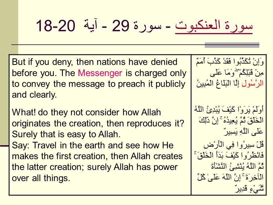 34 سورة العنكبوتسورة العنكبوت - سورة 29 - آية 18-20 But if you deny, then nations have denied before you. The Messenger is charged only to convey the