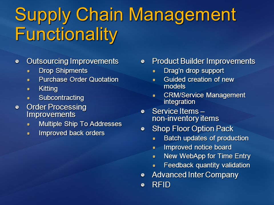Supply Chain Management Functionality Outsourcing Improvements Drop Shipments Purchase Order Quotation KittingSubcontracting Order Processing Improvem