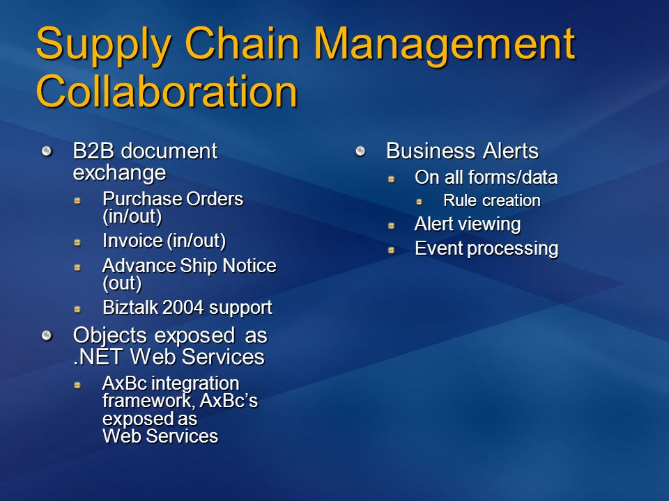 Supply Chain Management Collaboration B2B document exchange Purchase Orders (in/out) Invoice (in/out) Advance Ship Notice (out) Biztalk 2004 support Objects exposed as.NET Web Services AxBc integration framework, AxBc's exposed as Web Services Business Alerts On all forms/data Rule creation Alert viewing Event processing