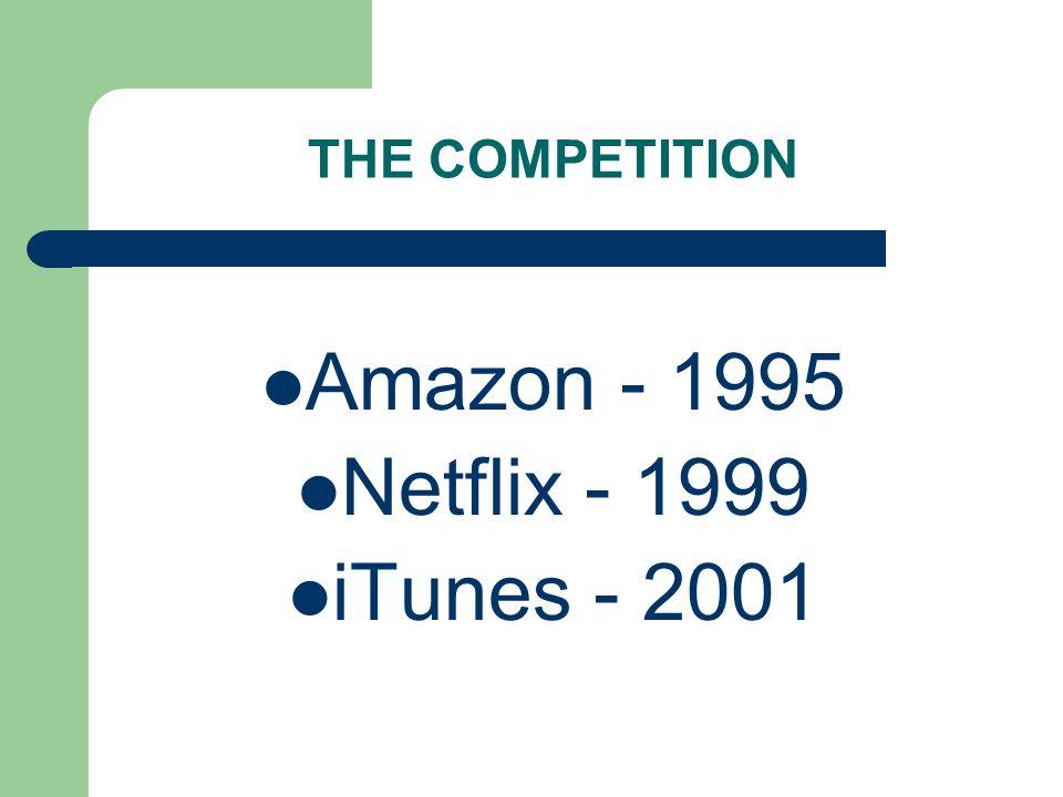 THE COMPETITION Amazon - 1995 Netflix - 1999 iTunes - 2001