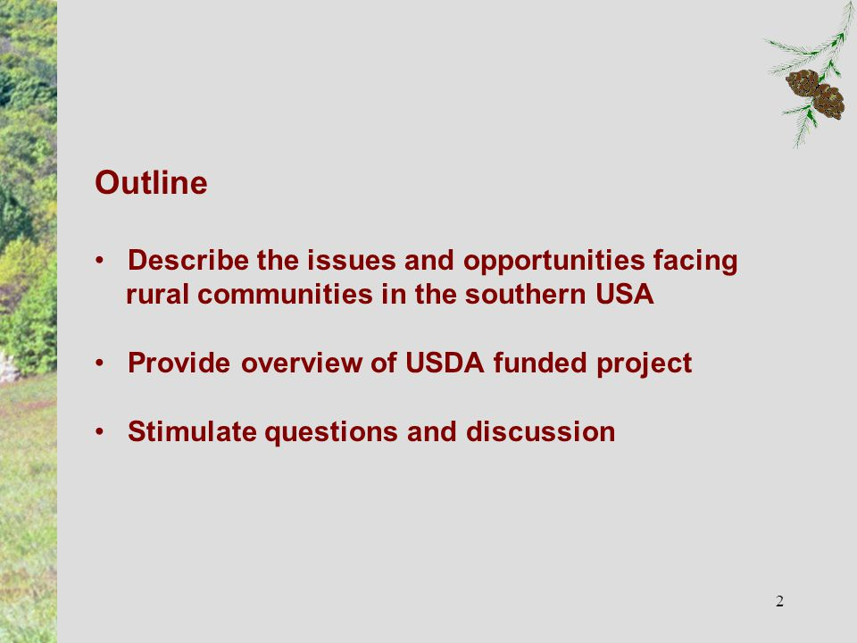 2 Outline Describe the issues and opportunities facing rural communities in the southern USA Provide overview of USDA funded project Stimulate questions and discussion