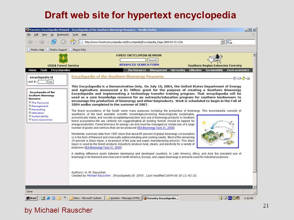 21 Draft web site for hypertext encyclopedia by Michael Rauscher