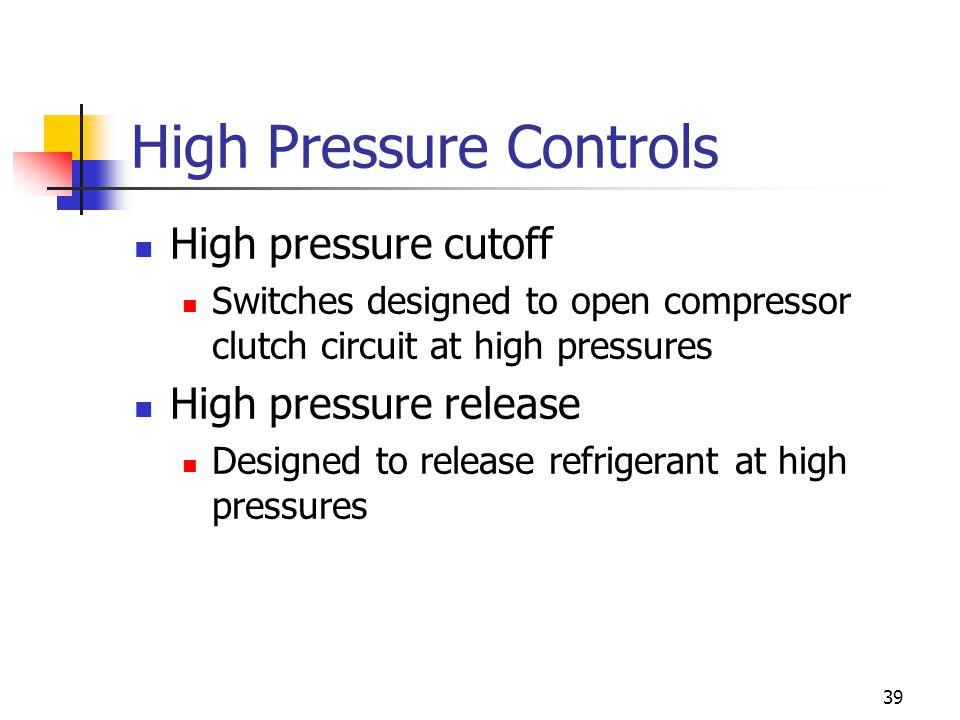 39 High Pressure Controls High pressure cutoff Switches designed to open compressor clutch circuit at high pressures High pressure release Designed to release refrigerant at high pressures