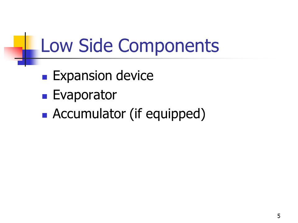 5 Low Side Components Expansion device Evaporator Accumulator (if equipped)
