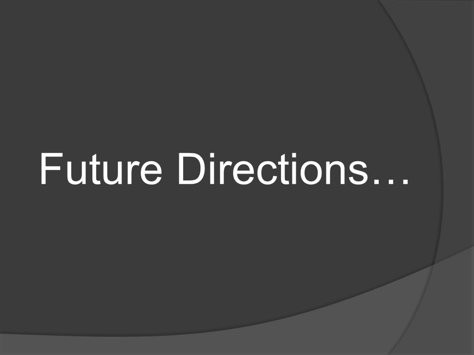 Future Directions…