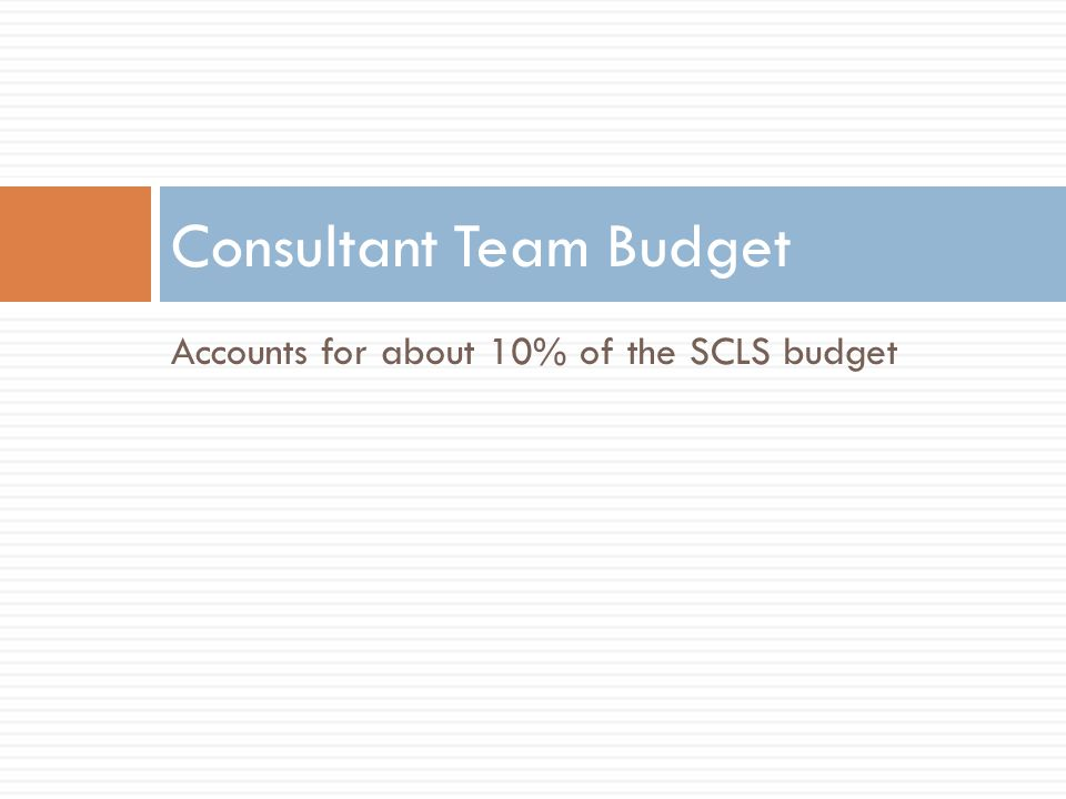 Accounts for about 10% of the SCLS budget Consultant Team Budget
