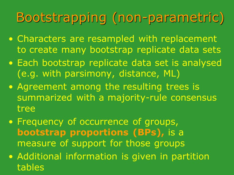 Bootstrapping (non-parametric) Characters are resampled with replacement to create many bootstrap replicate data sets Each bootstrap replicate data set is analysed (e.g.