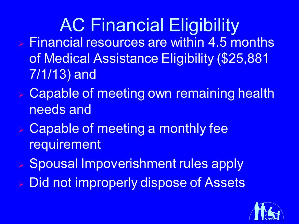 AC Monthly Fees *Income minus recurring and predictable medical expenses Client Income*Gross Assets Monthly Fee Income<100% FPG ($958) and <$10,000$0 Income>=100% ($958) and <150% FPG ($1437) and <$10,0005% cost of AC Services Income>=150%($1437) and <200% FPG ($1915) and <$10,00015% cost of AC Services Income >=200% FPG ($1915) OR >=$10,00030% cost of AC Services 20