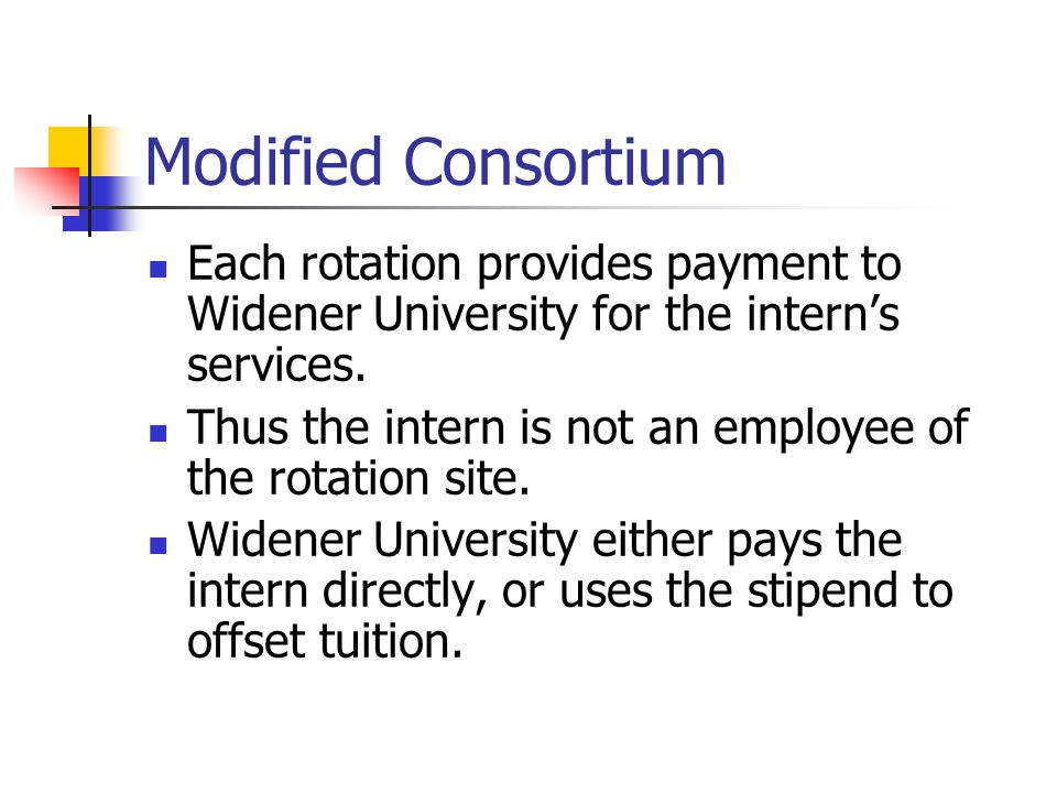 Modified Consortium Each rotation provides payment to Widener University for the intern's services.