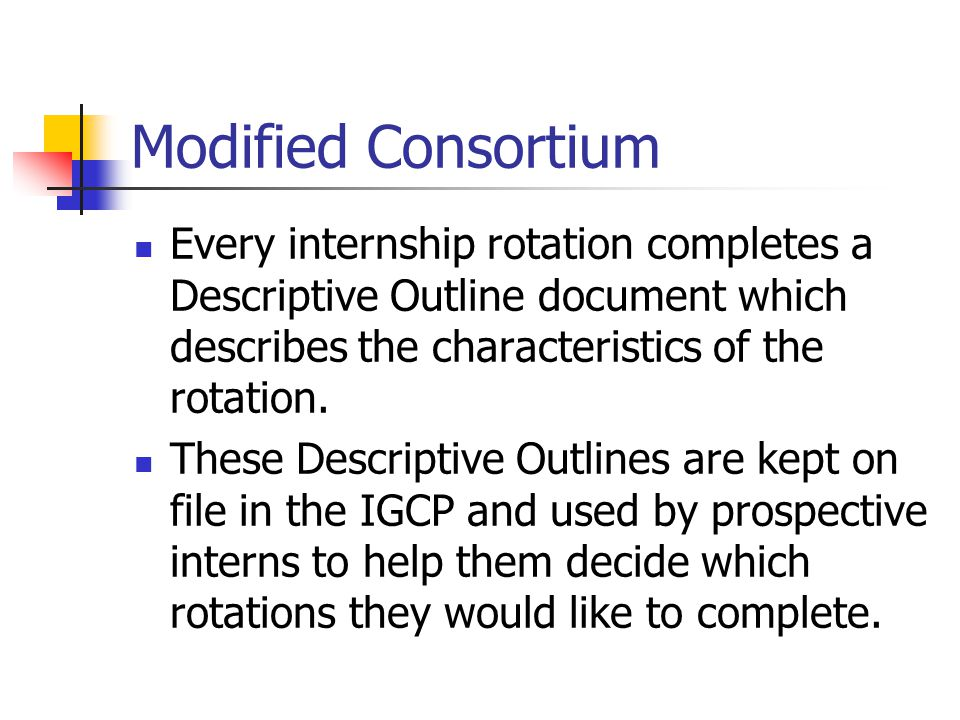 Modified Consortium Every internship rotation completes a Descriptive Outline document which describes the characteristics of the rotation.