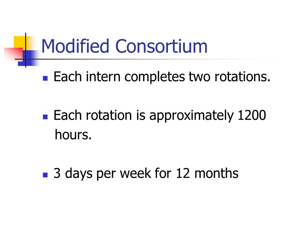 Modified Consortium Each intern completes two rotations.