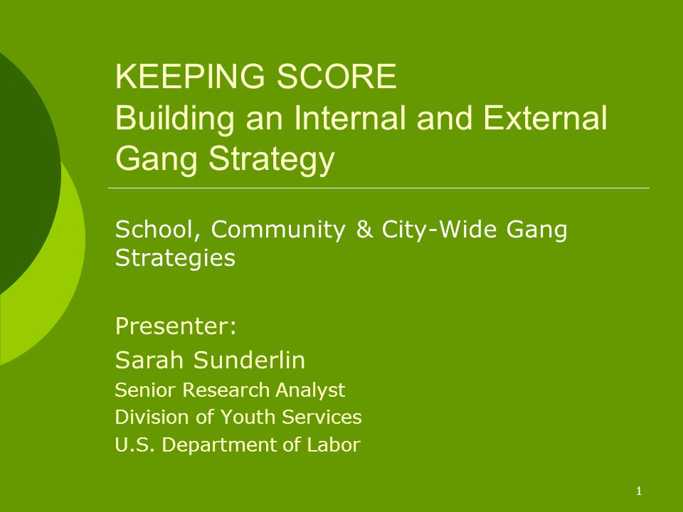 1 KEEPING SCORE Building an Internal and External Gang Strategy School, Community & City-Wide Gang Strategies Presenter: Sarah Sunderlin Senior Research Analyst Division of Youth Services U.S.